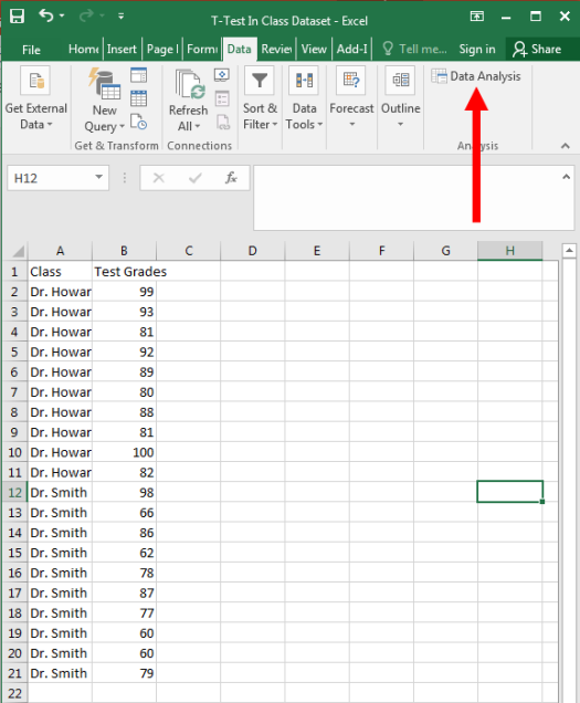 How to Perform a Two-Sample T-Test in Excel – Dr  Matt C  Howard