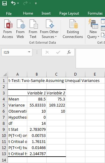 T-Test Data 9