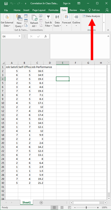 Correlation in Excel 2
