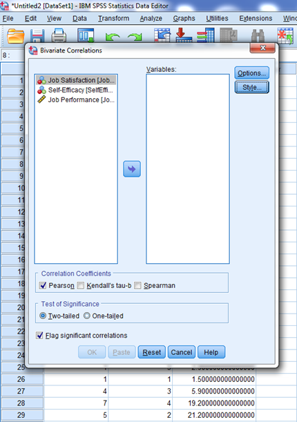 Correlations in SPSS 5