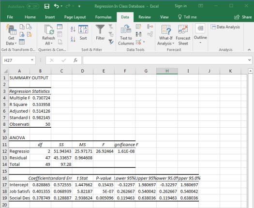 Regression in Excel 10