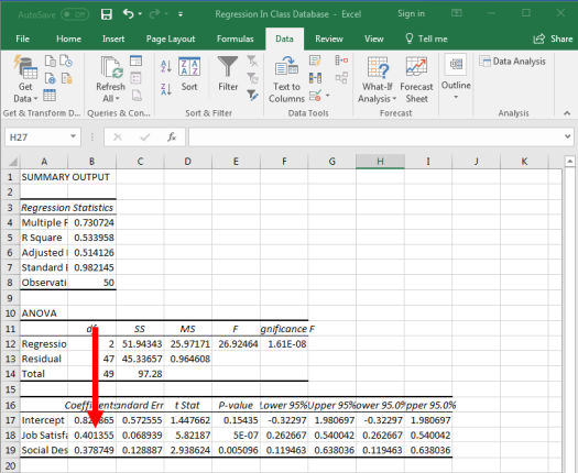 Regression in Excel 12