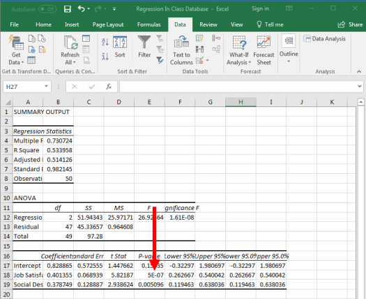 Regression in Excel 14