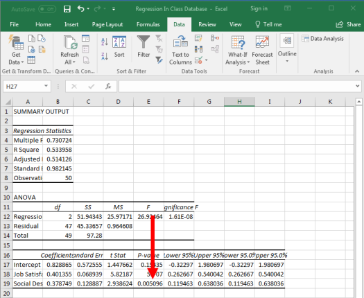 Regression in Excel 15