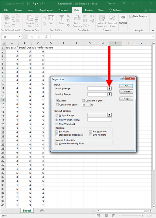 Regression in Excel 5