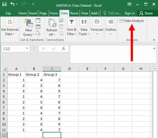 ANOVA in Excel 2
