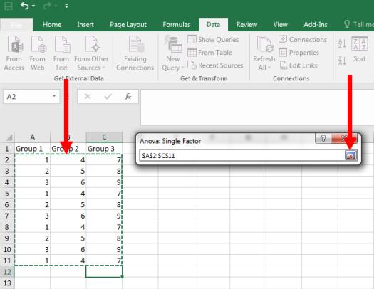 ANOVA in Excel 5