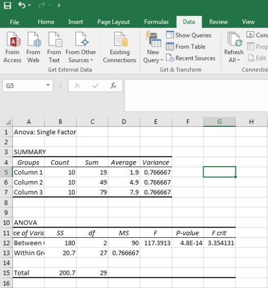 ANOVA in Excel 7