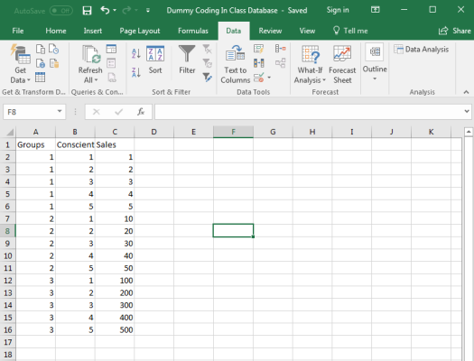 Dummy Coding in Excel 1