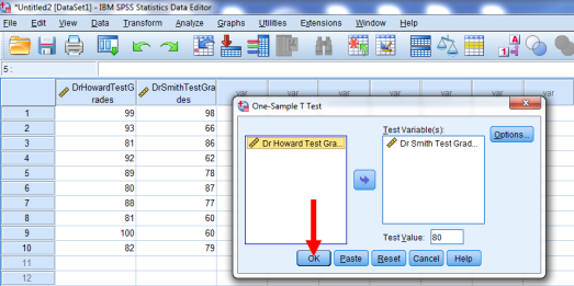 One-Sample T-Test in SPSS 10