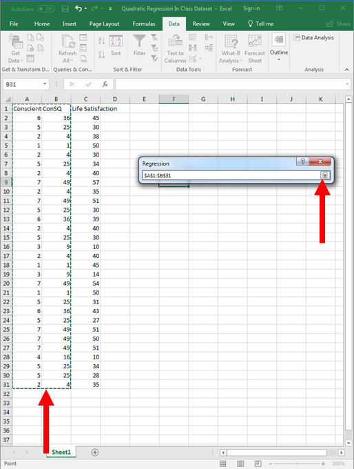 Quadratic Regression in Excel 10