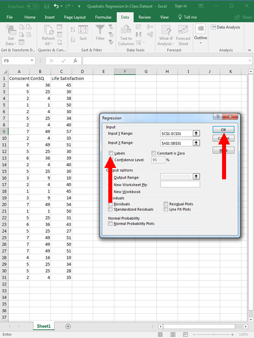 Quadratic Regression in Excel 11