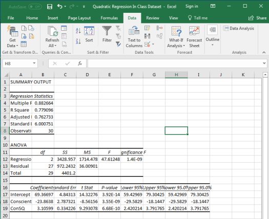 Quadratic Regression in Excel 12