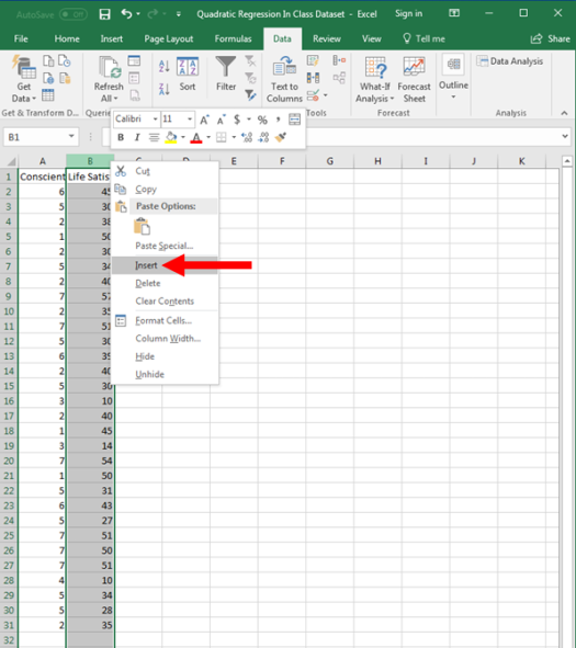 Quadratic Regression in Excel 2