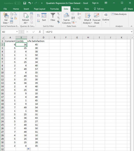 Quadratic Regression in Excel 4