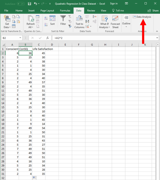 Quadratic Regression in Excel 5