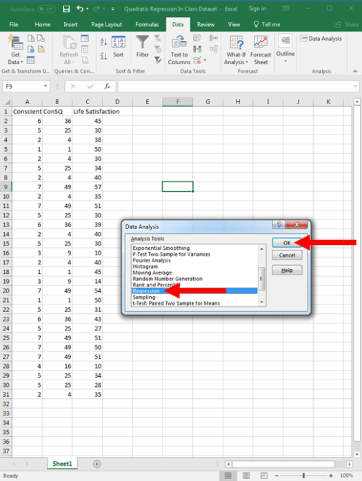 Quadratic Regression in Excel 6