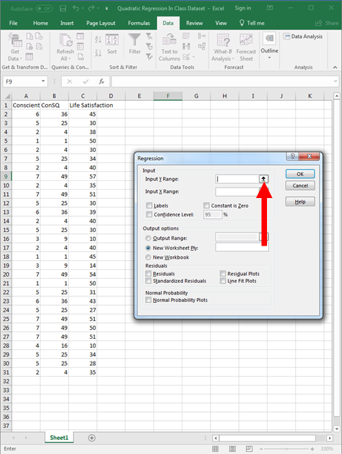 Quadratic Regression in Excel 7