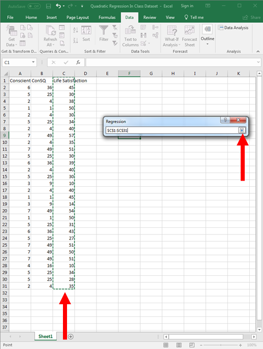 Quadratic Regression in Excel 8