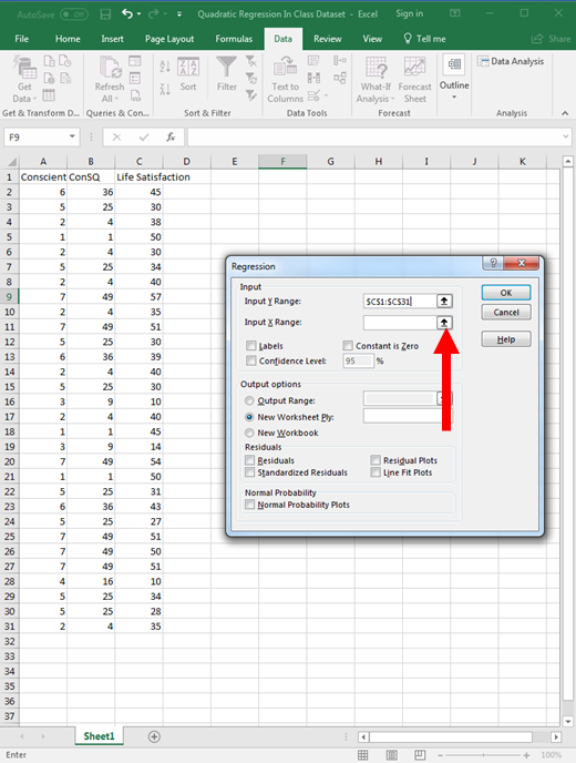 Quadratic Regression in Excel 9