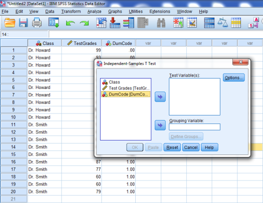 Two-Sample T-Test in SPSS 15