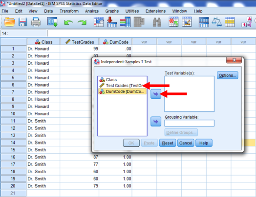 Two-Sample T-Test in SPSS 15b