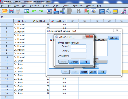 Two-Sample T-Test in SPSS 18