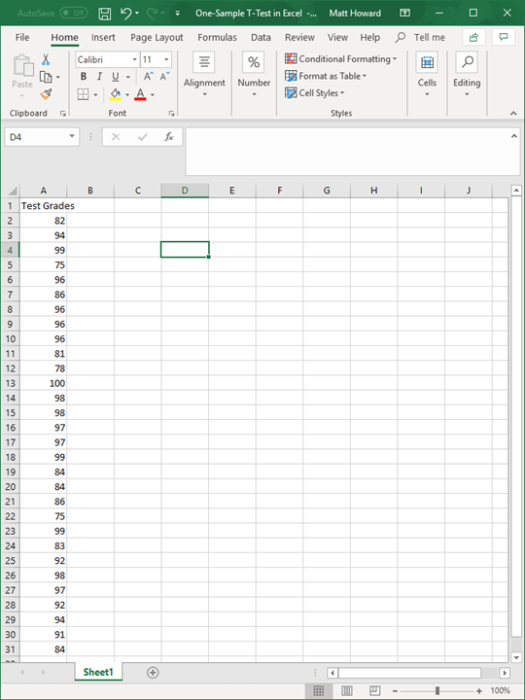 one-sample t-test in excel 1