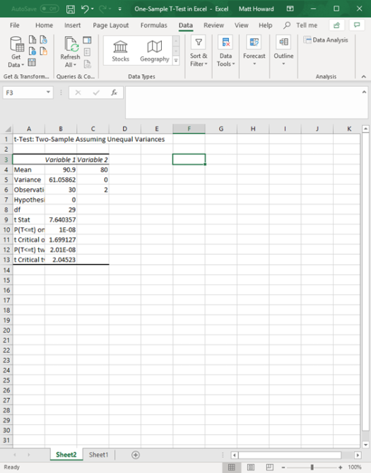 one-sample t-test in excel 10