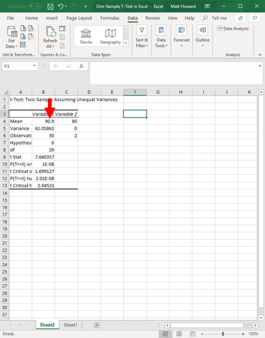 one-sample t-test in excel 11