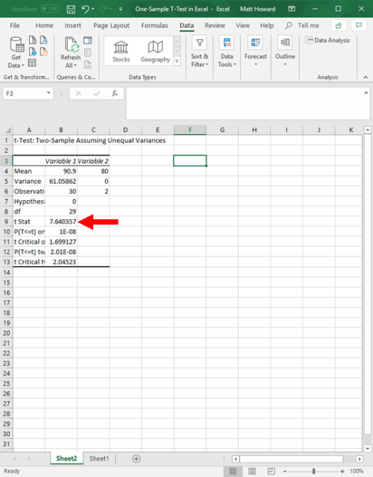 one-sample t-test in excel 12