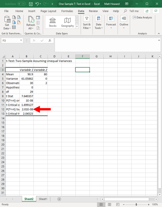 one-sample t-test in excel 13