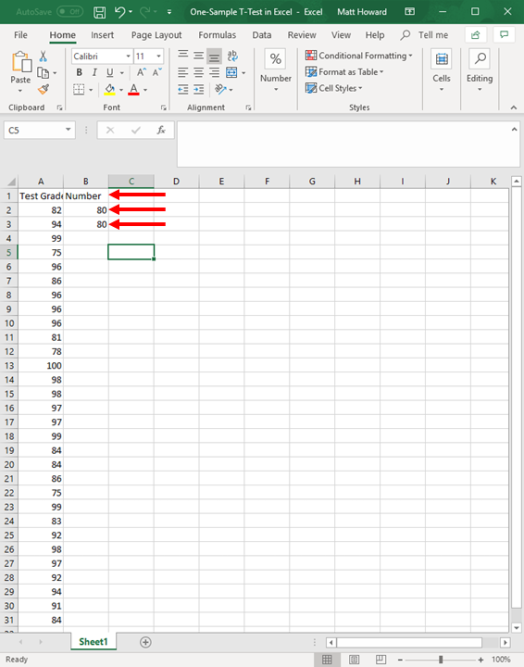 one-sample t-test in excel 2