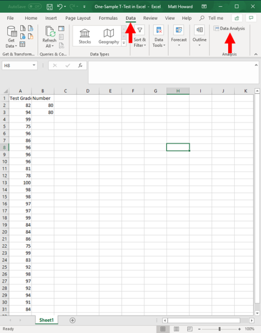 one-sample t-test in excel 3