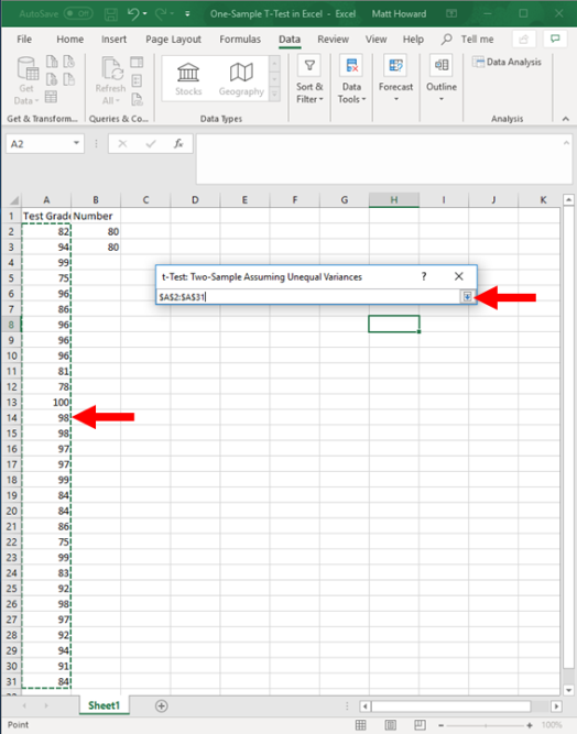 one-sample t-test in excel 6