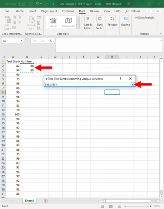 one-sample t-test in excel 8