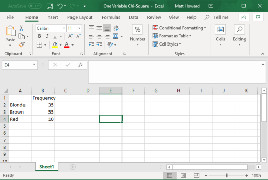 one variable chi square in excel - picture 1