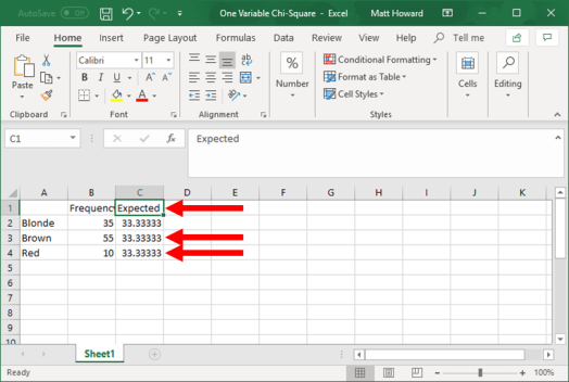 one variable chi square in excel - picture 3