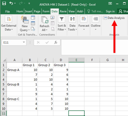 Two Way ANOVA in Excel 2