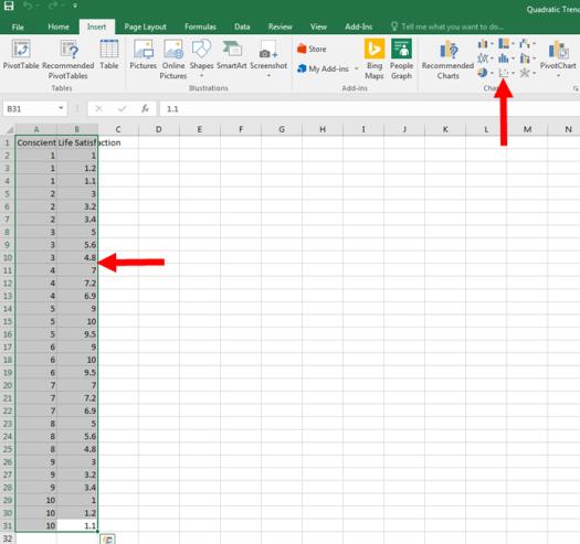 Quadratic Trendlines in Excel Charts 0.2