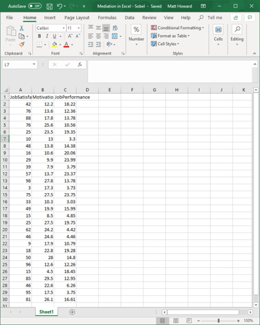 Mediation with Regression in Excel - Sobel Test 1