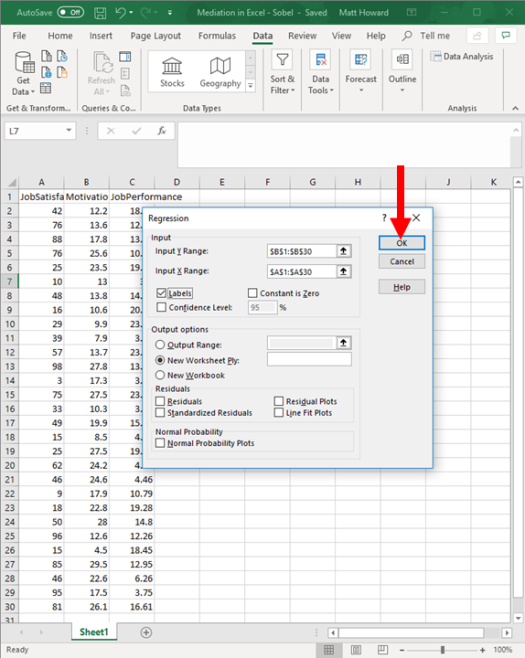 Mediation with Regression in Excel - Sobel Test 10