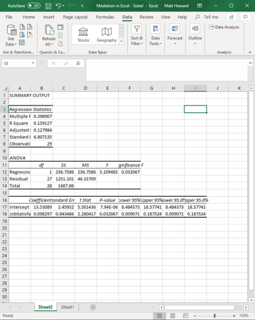 Mediation with Regression in Excel - Sobel Test 11