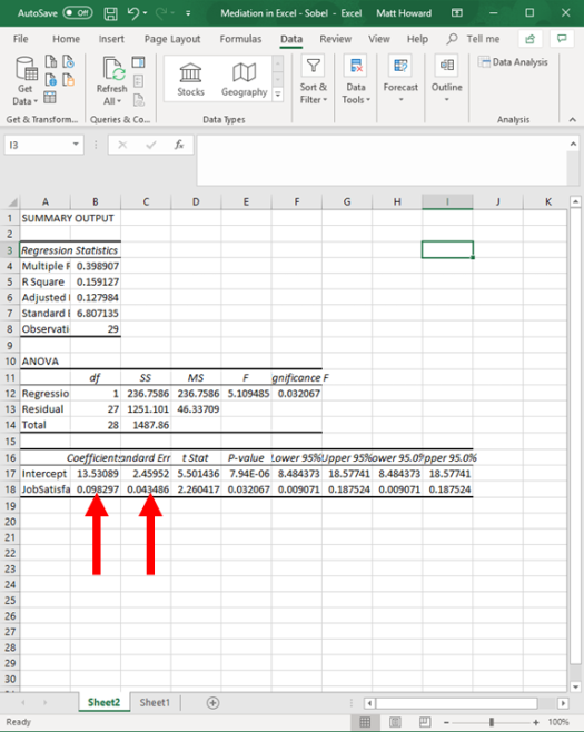 Mediation with Regression in Excel - Sobel Test 12