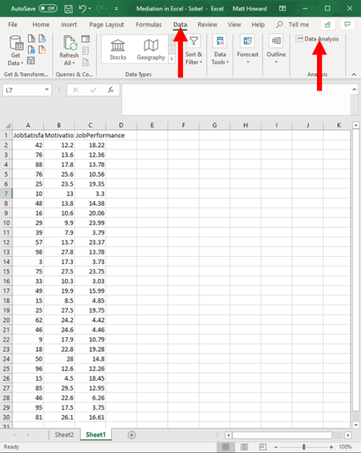 Mediation with Regression in Excel - Sobel Test 13