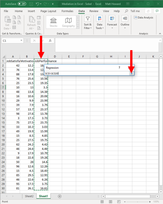 Mediation with Regression in Excel - Sobel Test 17