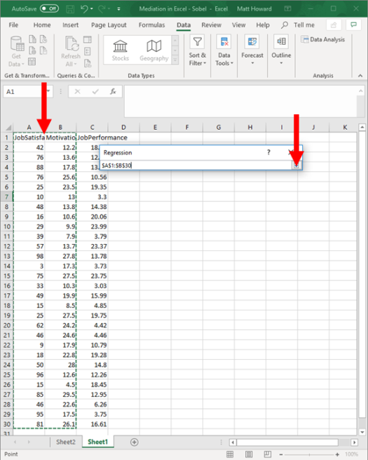 Mediation with Regression in Excel - Sobel Test 19