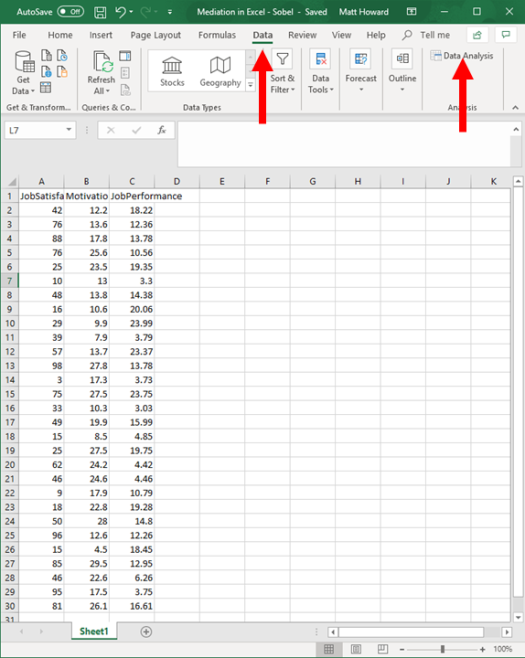 Mediation with Regression in Excel - Sobel Test 2