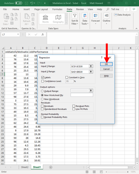 Mediation with Regression in Excel - Sobel Test 20