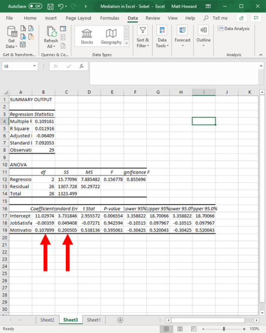 Mediation with Regression in Excel - Sobel Test 21